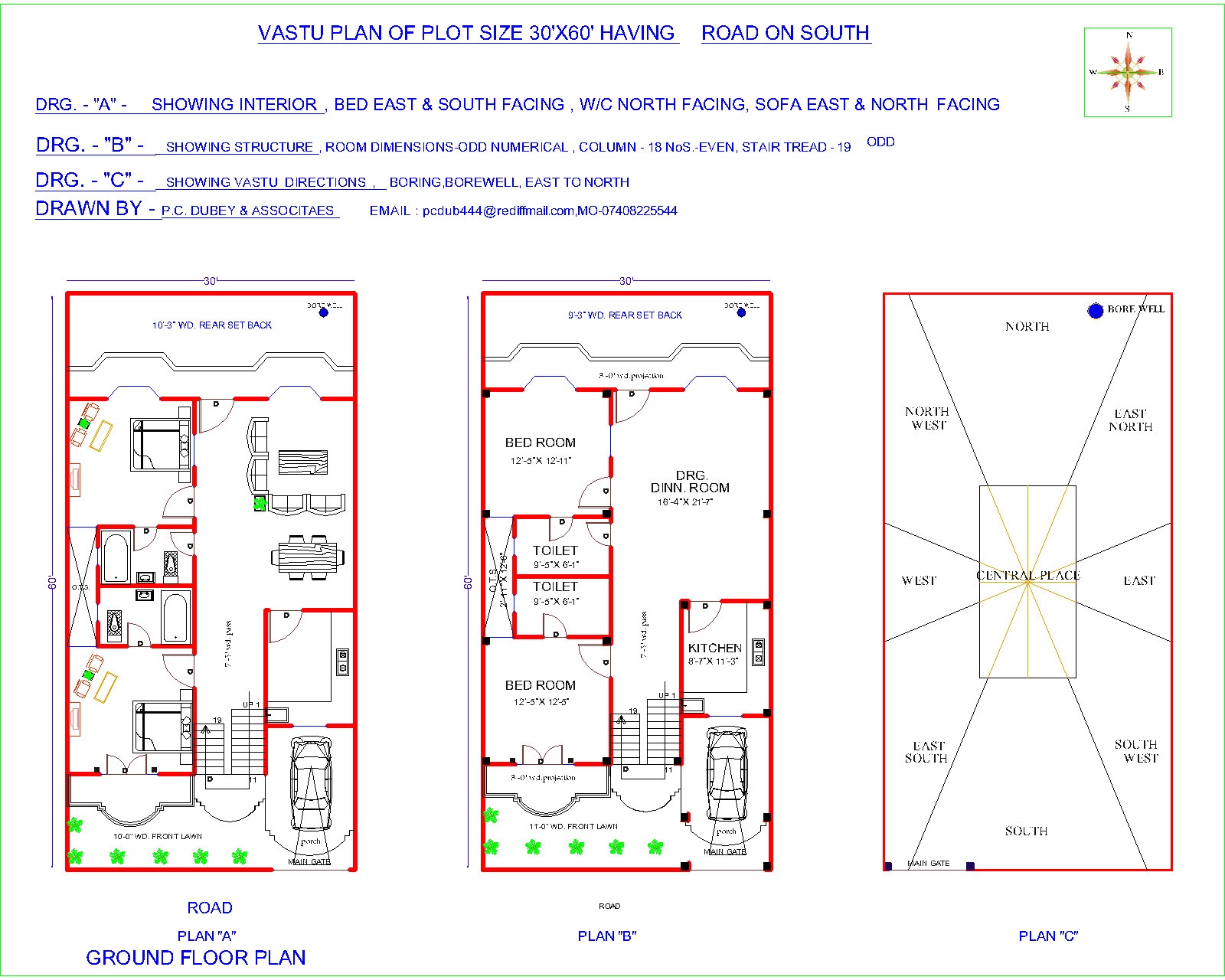 Vastu floor plan for south facing plot for Indian home map plan