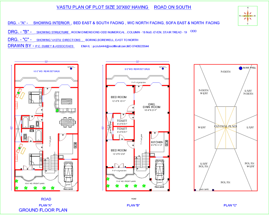 South facing house plans according to vastu shastra in for Apartment plans as per vastu